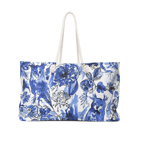 Chi O Owl Watercolor Blue + White Weekender Tote