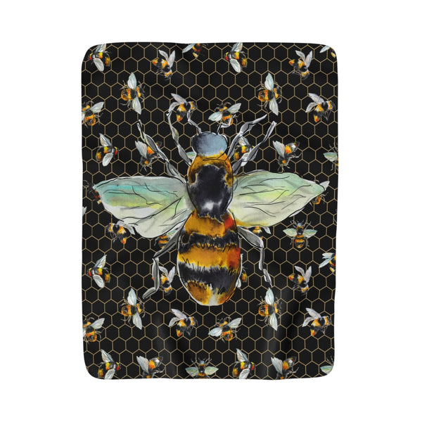 Bee Love Black Fleece Sherpa Blanket