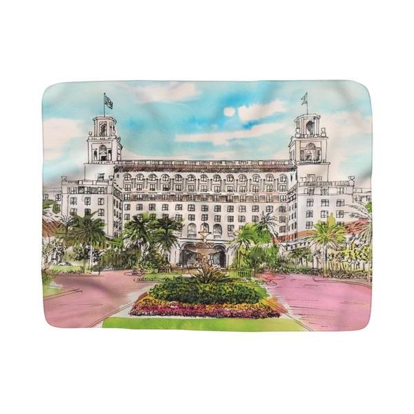 The Breakers Resort Watercolor Sherpa Fleece Blanket