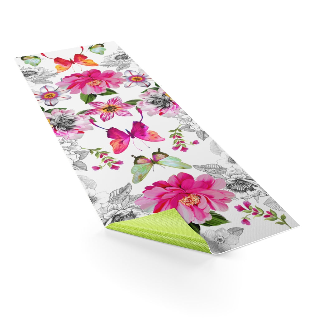 Butterfly Spring Flowers Yoga Mat