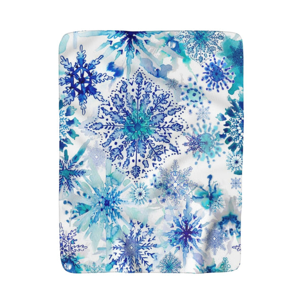 Watercolor Aqua Blue Snowflakes Fleece Sherpa Blanket