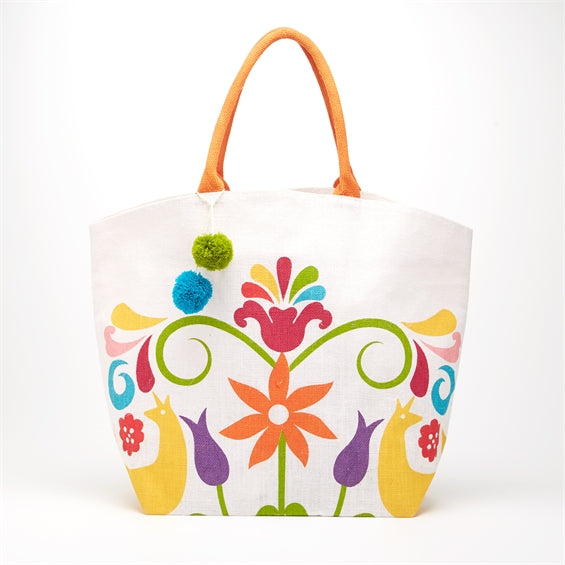 Otomi Jute Tote Bag with Pom-Poms