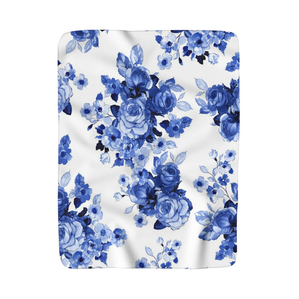 Blue + White Rose Fleece Sherpa Blanket