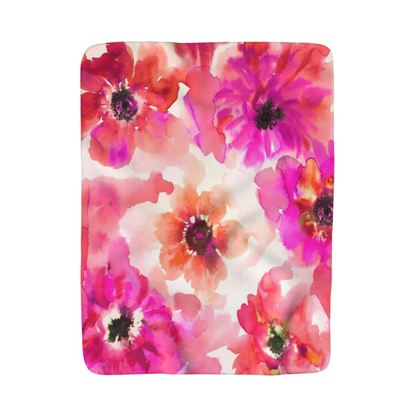 Fuchsia & Orange Watercolor Anemones Fleece Sherpa Blanket