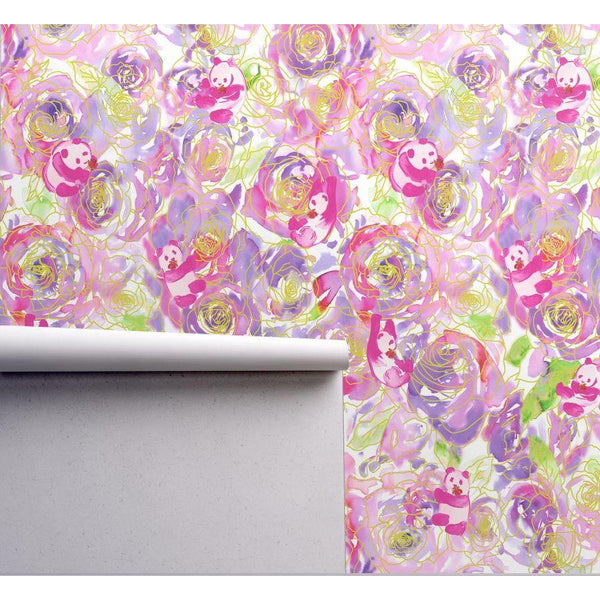 ALPHA OMICRON PI PANDA WATERCOLOR FLOWERS DESIGNER WALLPAPER