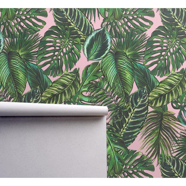 PALM LEAF BLUSH WALLPAPER