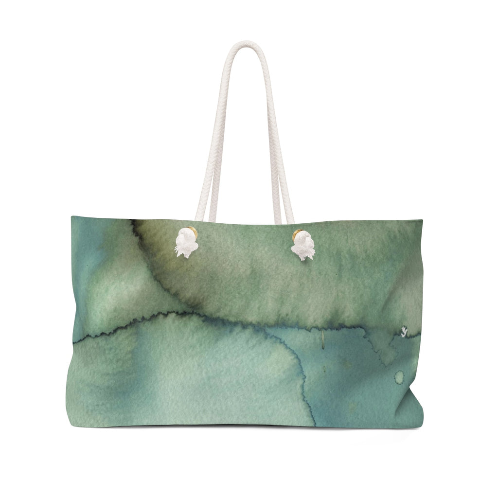 Blue + Green Watercolor Blotch Weekender Tote