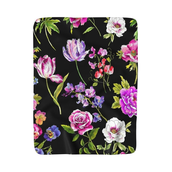 Black Floral Frenzy Sherpa Fleece Blanket