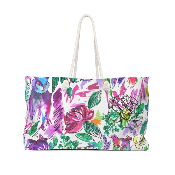 Chi O Owl Watercolor Weekender Tote