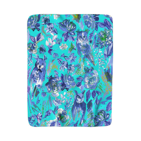 Chi O Owl Watercolor Aqua Fleece Sherpa Blanket