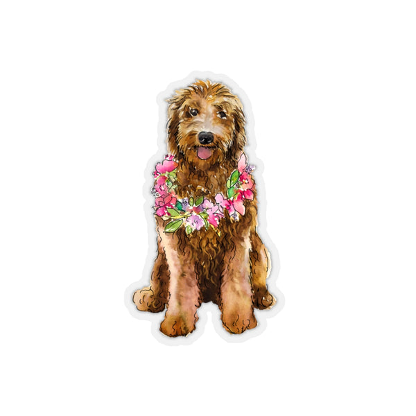 Goldendoodle Floral Wreath REMOVABLE Sticker