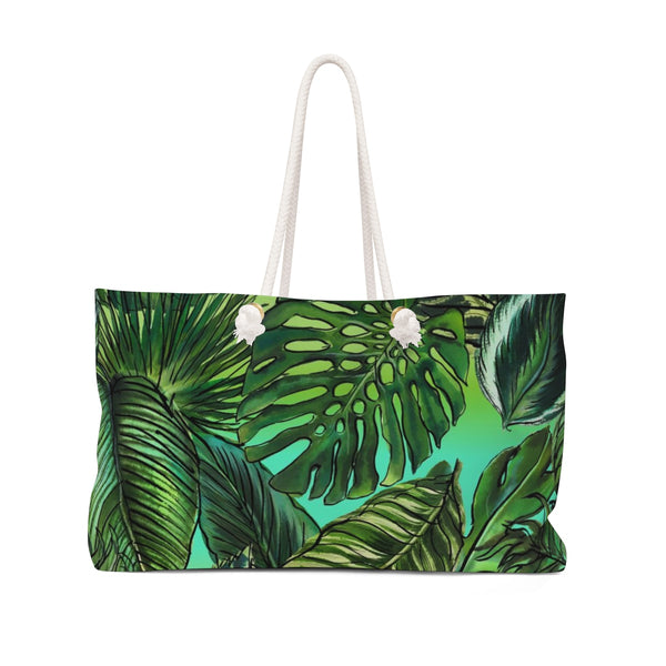 Palm Leaf Ombre Blue Green Weekender Tote