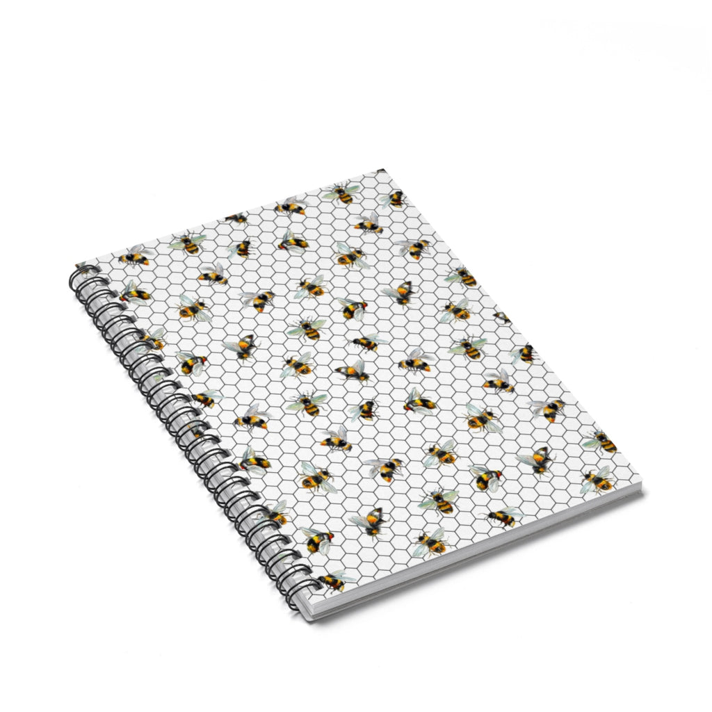 Bee Hexagon Spiral Notebook - Ruled Line