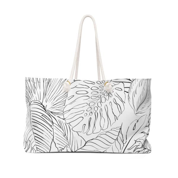 Outline B&W Palm Leaves Weekender Tote