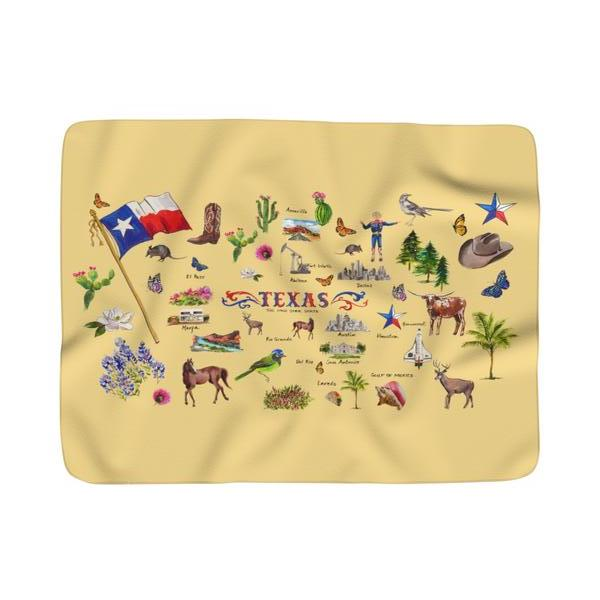 I Love Texas Butter Sherpa Fleece Blanket
