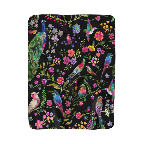 Couture Birds Black Fleece Sherpa Blanket
