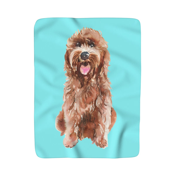 Goldendoodle Aqua Setting Fleece Sherpa Blanket