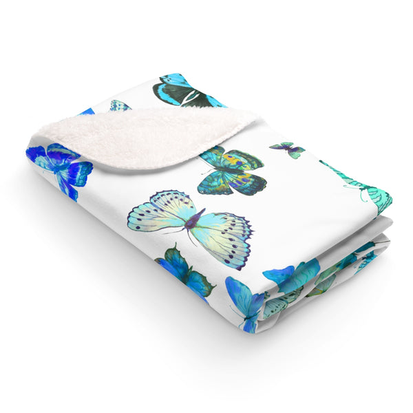 NEW BOY Blue Butterflies Sherpa Fleece Blanket