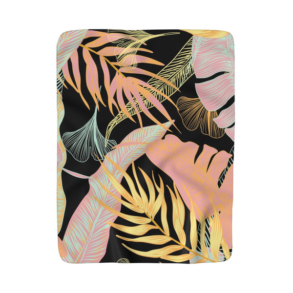 Exotic Palms Pastel Fleece Sherpa Blanket