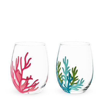 Sea Life Coral Painted Glass