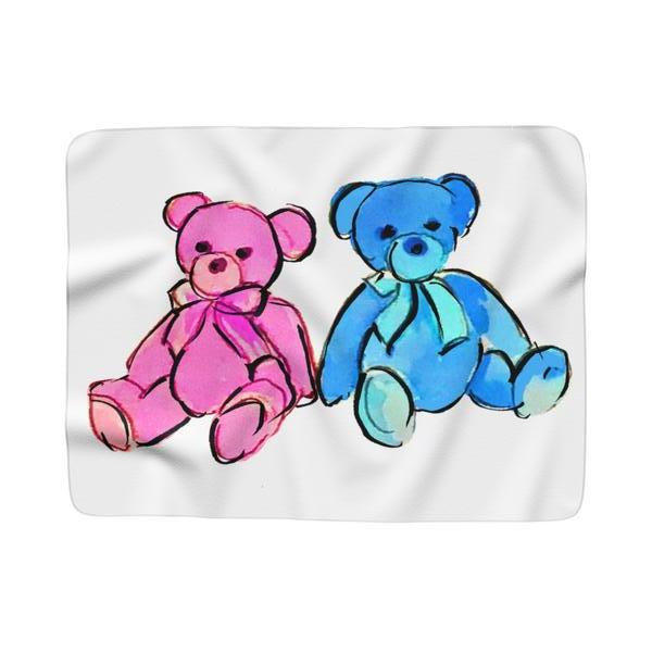 Teddy Bear Pink & Blue Fleece Sherpa Blanket