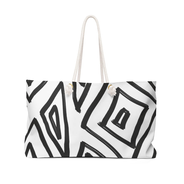 BLACK & WHITE CAVE ART WEEKENDER TOTE