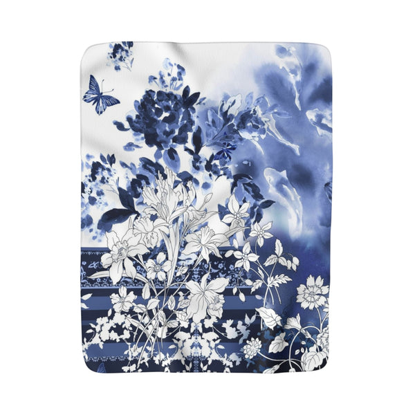 Blue & White Koi Flowers Fleece Sherpa Blanket