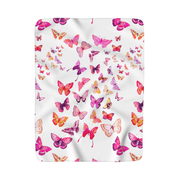 PINK BUTTERFLIES SHERPA FLEECE BLANKET