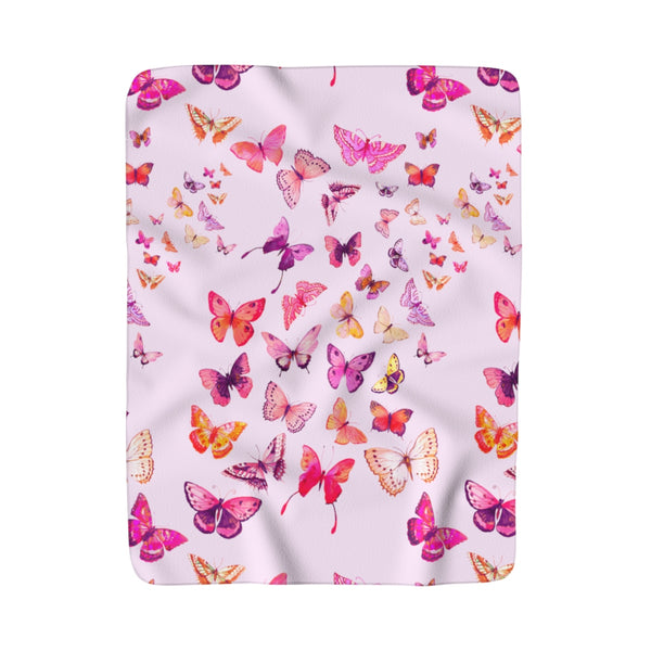 PINK BUTTERFLIES + BLUSH SHERPA FLEECE BLANKET