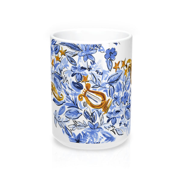Blue + Gold Lyre Mug 15oz
