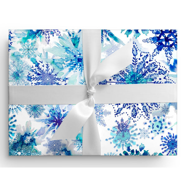 Watercolor Blue Snowflakes Gift Wrap