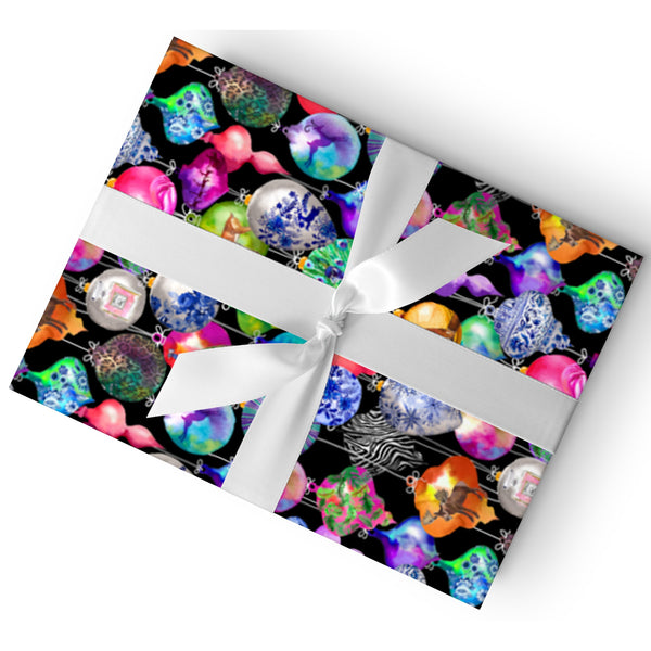 CHIC ORNAMENTS BLACK GIFT WRAP