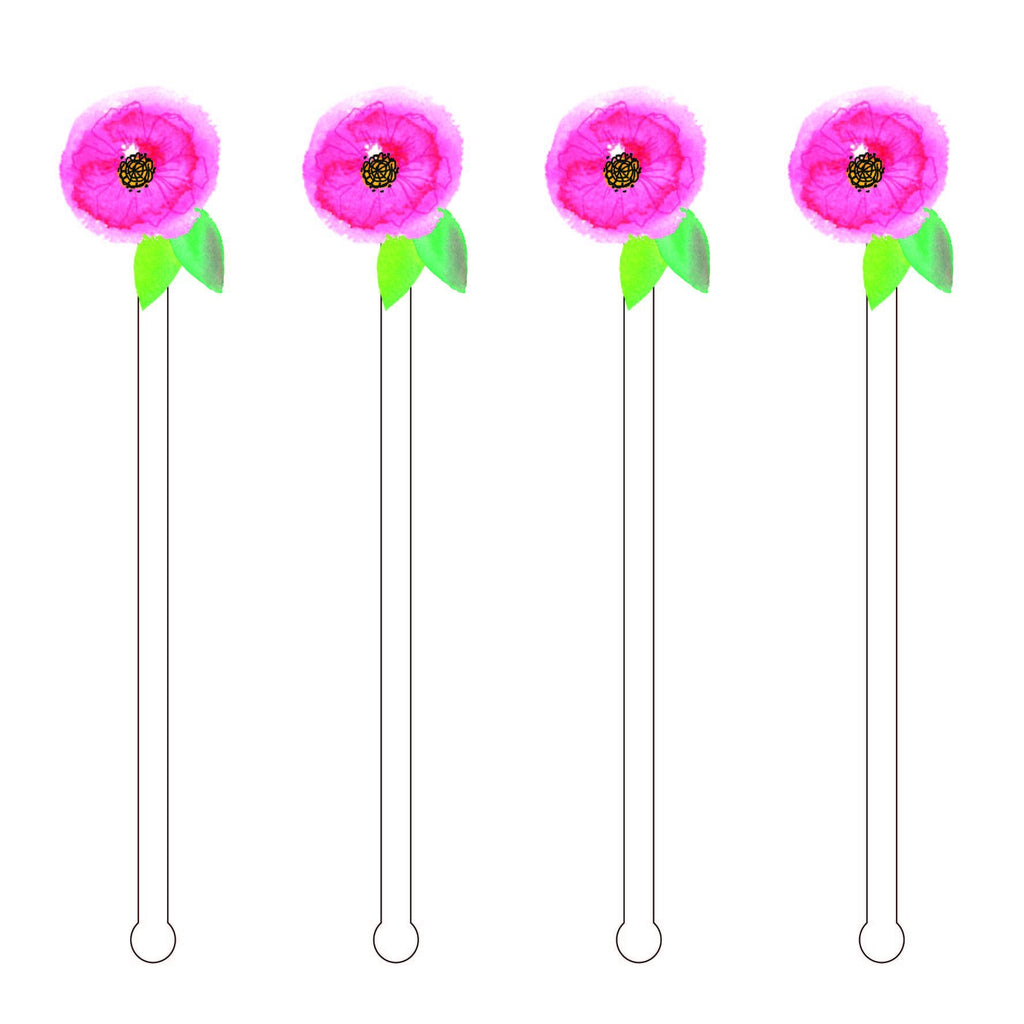DAINTY PINK BLOOM ACRYLIC STIR STICKS