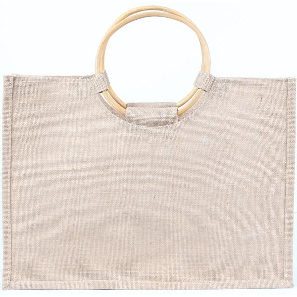 Jute Tote Bag with Cane Handles