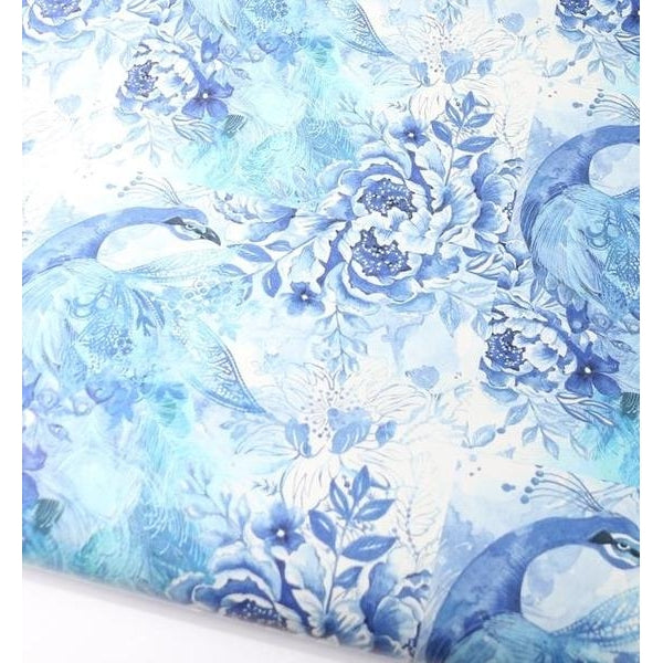 Blue + White Peacock Flowers Gift Wrap