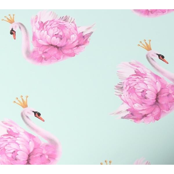 Crowned Swan Soft Aqua Gift Wrap