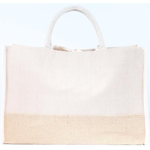 Jute Tote Bag with Cotton and Burlap