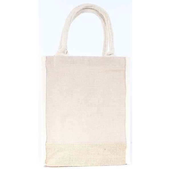 Two Toned Burlap Tote Bag
