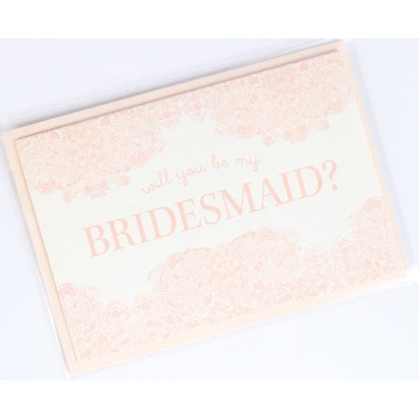 Will You Be My Bridesmaid Letterpress Note Card