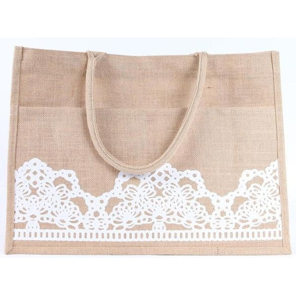 Lacey Jute Pocket Tote