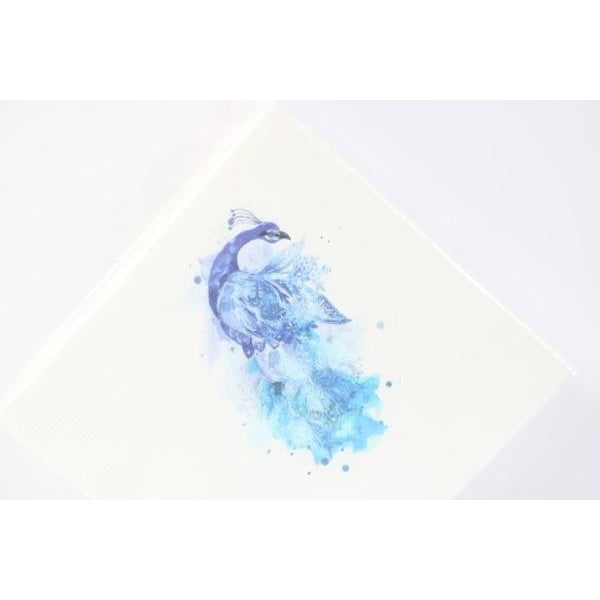 Blue Peacock Beverage Napkins