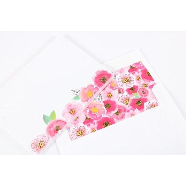 Pink Flowers 4x6 Stationery
