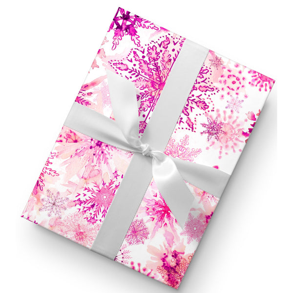 WATERCOLOR PINK SNOWFLAKES GIFT WRAP