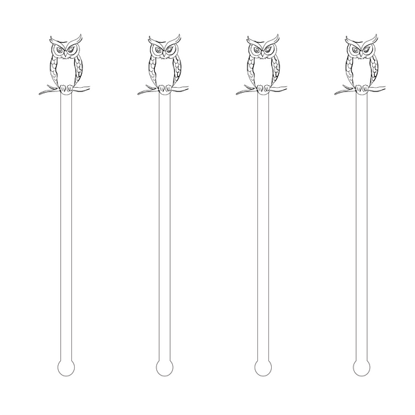 BLACK & WHITE OWL ACRYLIC STIR STICKS
