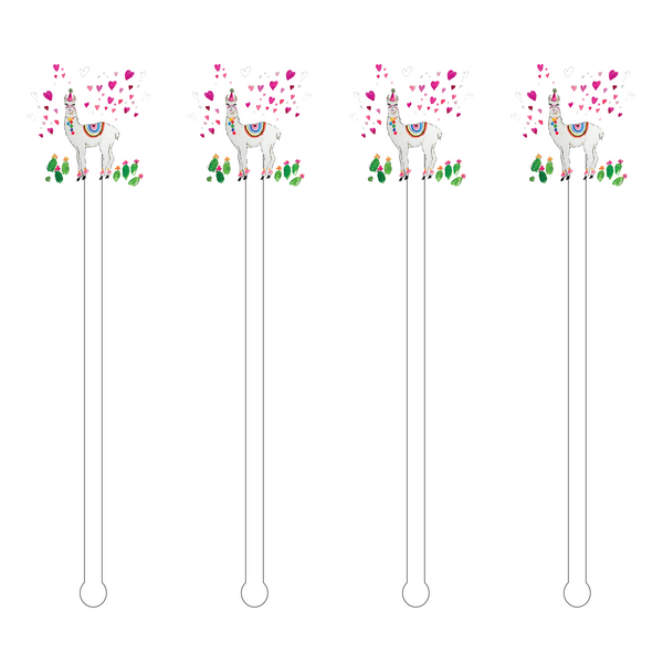 BIRTHDAY LLAMA ACRYLIC STIR STICKS