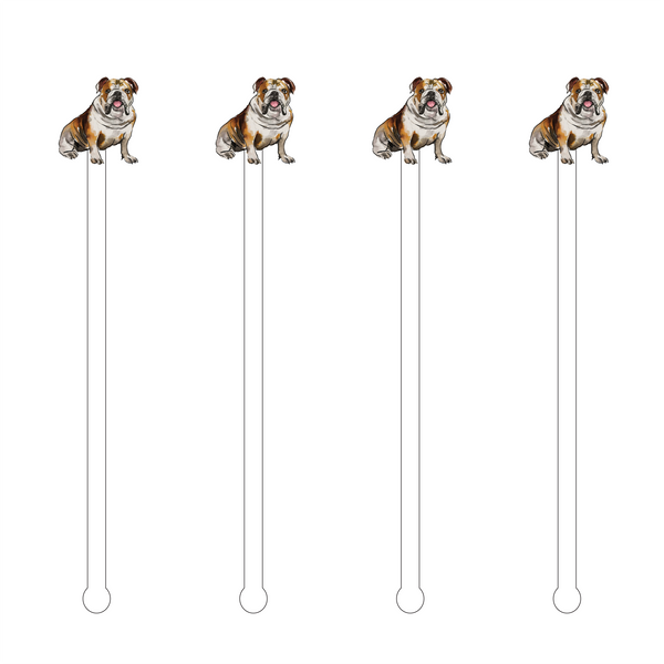 ENGLISH BULLDOG ACRYLIC STIR STICKS