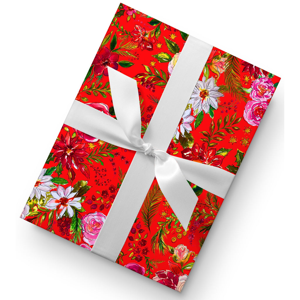 gorgeous floral christmas red gift wrap the welcome bag committee