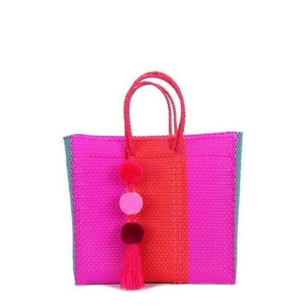 Stella Tote Fuchsia, Aqua & Orange