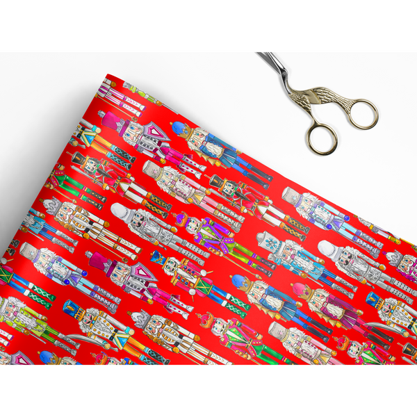 Nutcrackers Red Gift Wrap