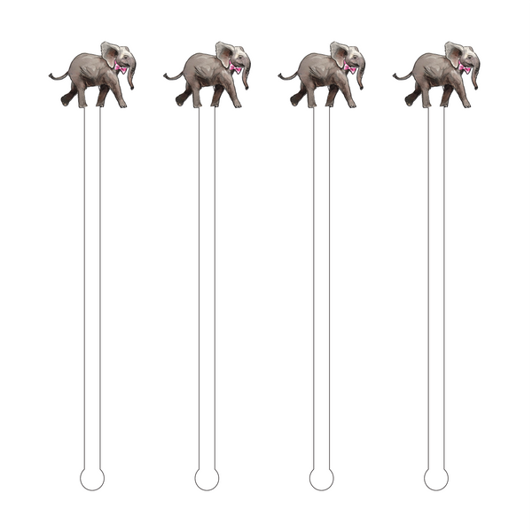 STRUTTING ELEPHANT WITH BOWTIE ACRYLIC STIR STICKS